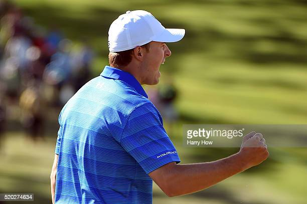 Jordan Spieth of the United States reacts to his birdie on the ninth green during the final round of the 2016 Masters Tournament at Augusta National...