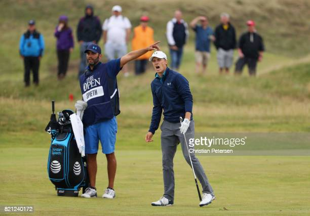 Jordan Spieth of the United States reacts to his second shot on the 11th hole during the final round of the 146th Open Championship at Royal Birkdale...