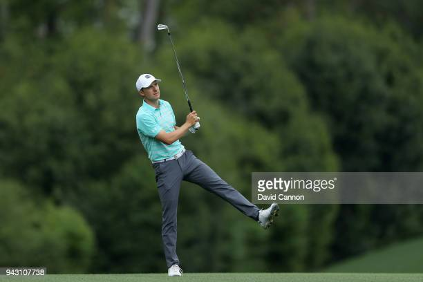 Jordan Spieth of the United States reacts to his second shot on the fifth hole during the third round of the 2018 Masters Tournament at Augusta...