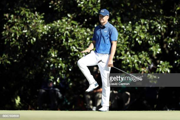Jordan Spieth of the United States reacts to his third shot on the 11th hole during the third round of the 2017 Masters Tournament at Augusta...