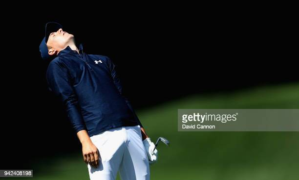 Jordan Spieth of the United States reacts to his third shot on the fifth hole during the first round of the 2018 Masters Tournament at Augusta...