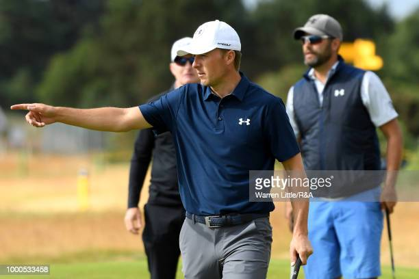 Jordan Spieth of the United States seen while practicing during previews to the 147th Open Championship at Carnoustie Golf Club on July 17 2018 in...