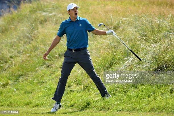 Jordan Spieth of the United States shouts fore after his second shot on the first hole during the final round of the 146th Open Championship at Royal...