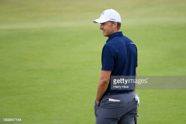 Jordan Spieth of the United States smiles on the 18th hole during previews to the 147th Open Championship at Carnoustie Golf Club on July 16 2018 in...