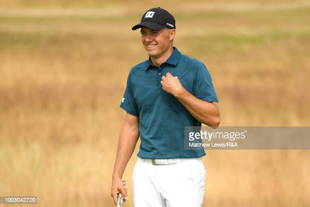 Jordan Spieth of the United States smiles on the 5th hole green during round three of the Open Championship at Carnoustie Golf Club on July 21 2018...