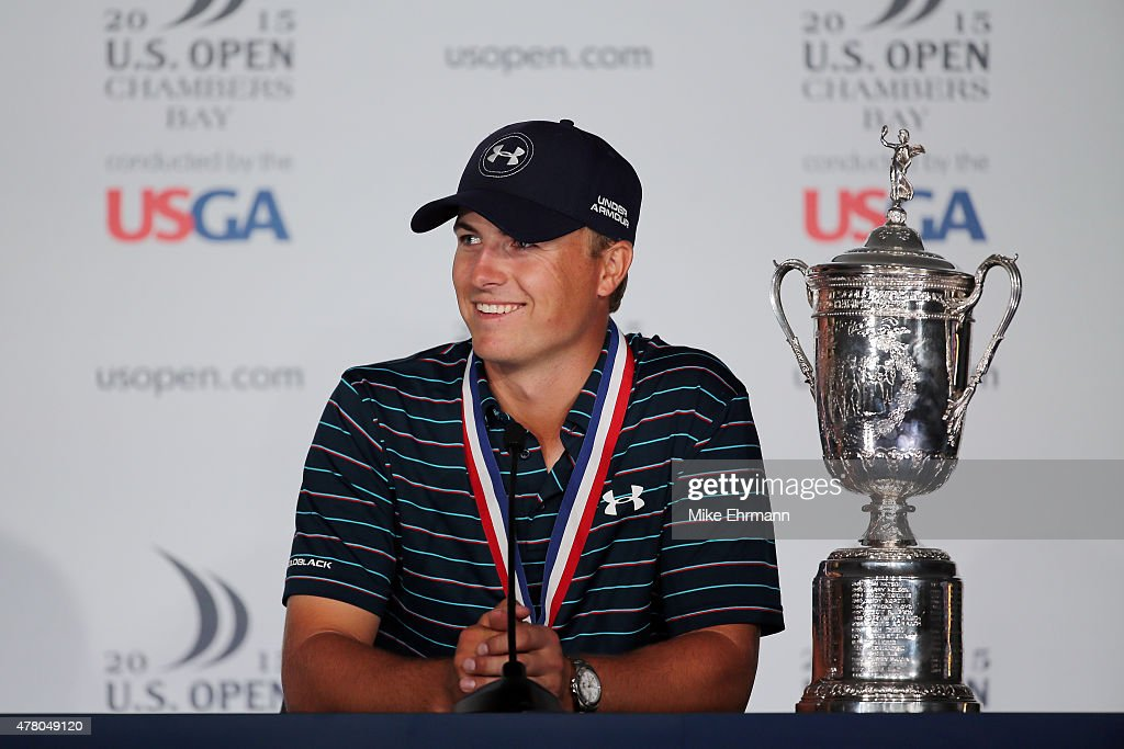 Jordan Spieth of the United States speaks with the media after winning the 115th U.S. Open Championship at Chambers Bay on June 21, 2015 in University Place, Washington.