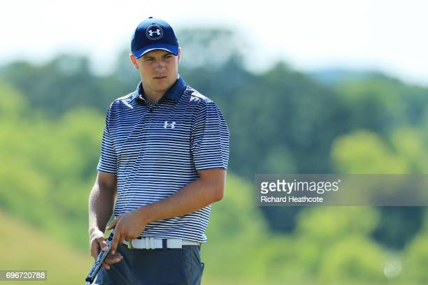 Jordan Spieth of the United States stands on the eighth green during the second round of the 2017 US Open at Erin Hills on June 16 2017 in Hartford...