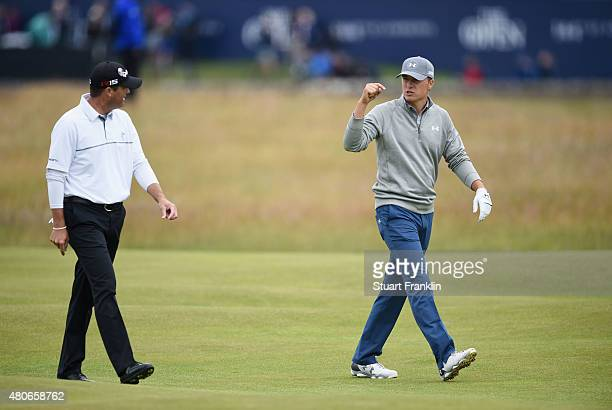 Jordan Spieth of the United States talks to Ryan Palmer of the United States ahead of the 144th Open Championship at The Old Course on July 14 2015...