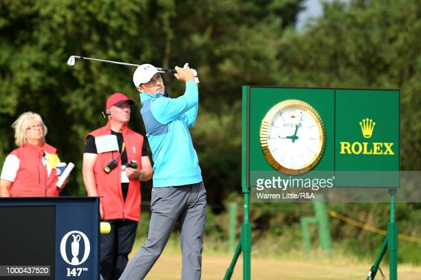 Jordan Spieth of the United States tees off at the 14th hole while practicing during previews to the 147th Open Championship at Carnoustie Golf Club...