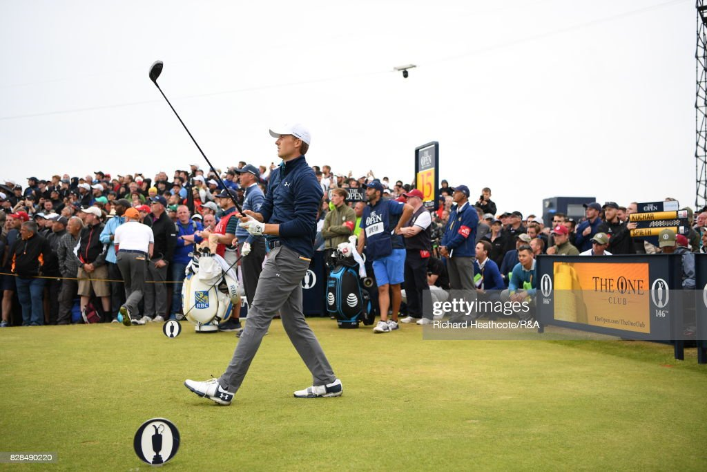Jordan Spieth of the United States tee's off at the 15th hole during the final round of the 146th Open Championship at Royal Birkdale on July 23, 2017 in Southport, England.