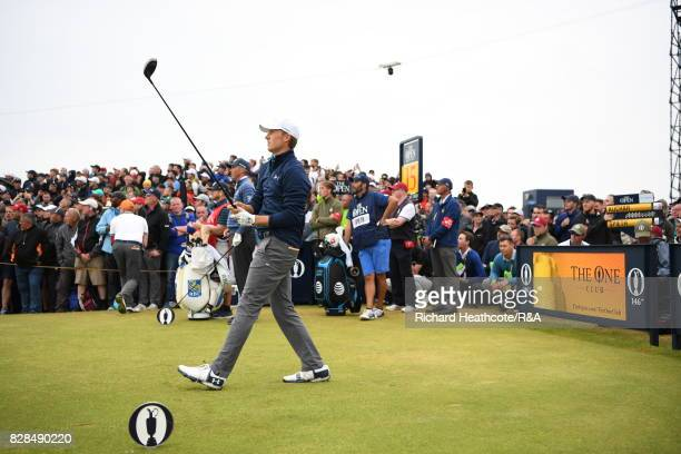 Jordan Spieth of the United States tee's off at the 15th hole during the final round of the 146th Open Championship at Royal Birkdale on July 23 2017...