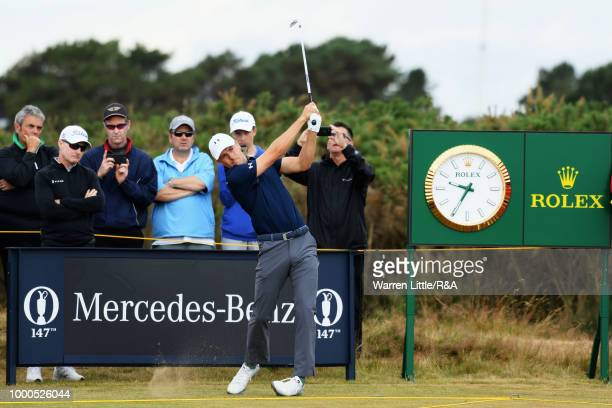 Jordan Spieth of the United States tees off at the 15th hole while practicing during previews to the 147th Open Championship at Carnoustie Golf Club...