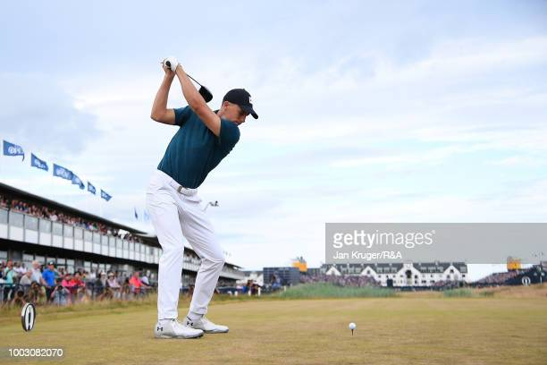 Jordan Spieth of the United States tees off at the 18th hole during round three of the Open Championship at Carnoustie Golf Club on July 21, 2018 in...