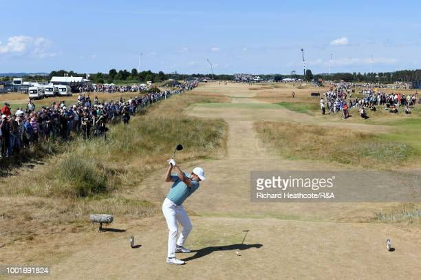 Jordan Spieth of the United States tees off at the 6th hole during round one of the 147th Open Championship at Carnoustie Golf Club on July 19 2018...