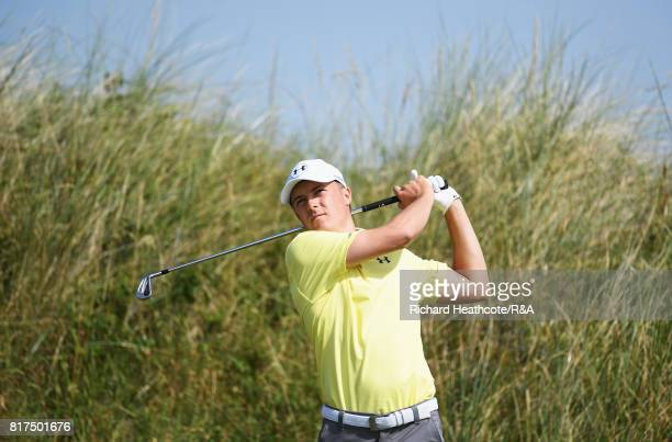 Jordan Spieth of the United States tees off during a practice round prior to the 146th Open Championship at Royal Birkdale on July 18, 2017 in...