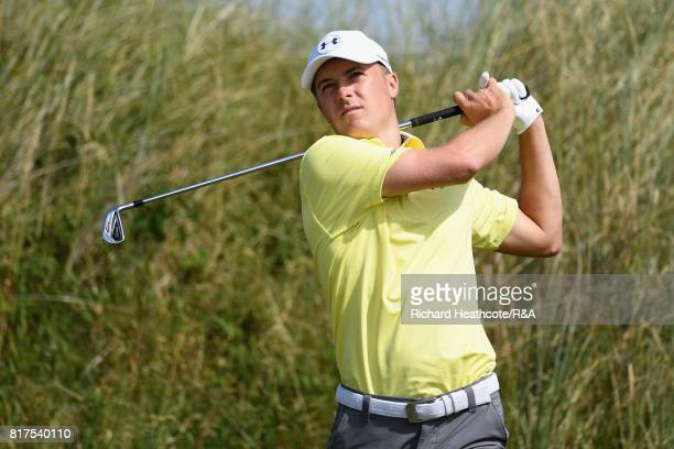 Jordan Spieth of the United States tees off during a practice round prior to the 146th Open Championship at Royal Birkdale on July 18 2017 in...