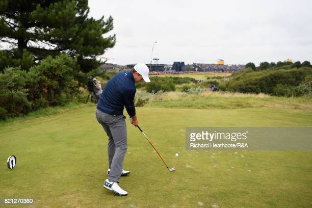 Jordan Spieth of the United States tees off on the 18th hole during the final round of the 146th Open Championship at Royal Birkdale on July 23 2017...