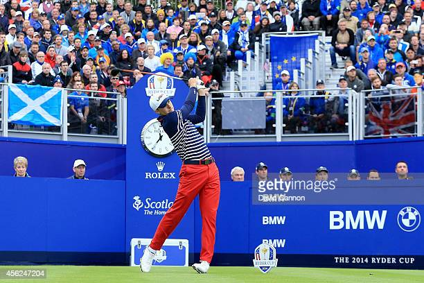 Jordan Spieth of the United States tees off on the 1st hole during the Singles Matches of the 2014 Ryder Cup on the PGA Centenary course at the...