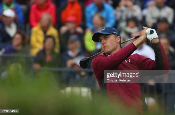Jordan Spieth of the United States tees off on the 1st hole during the second round of the 146th Open Championship at Royal Birkdale on July 21 2017...