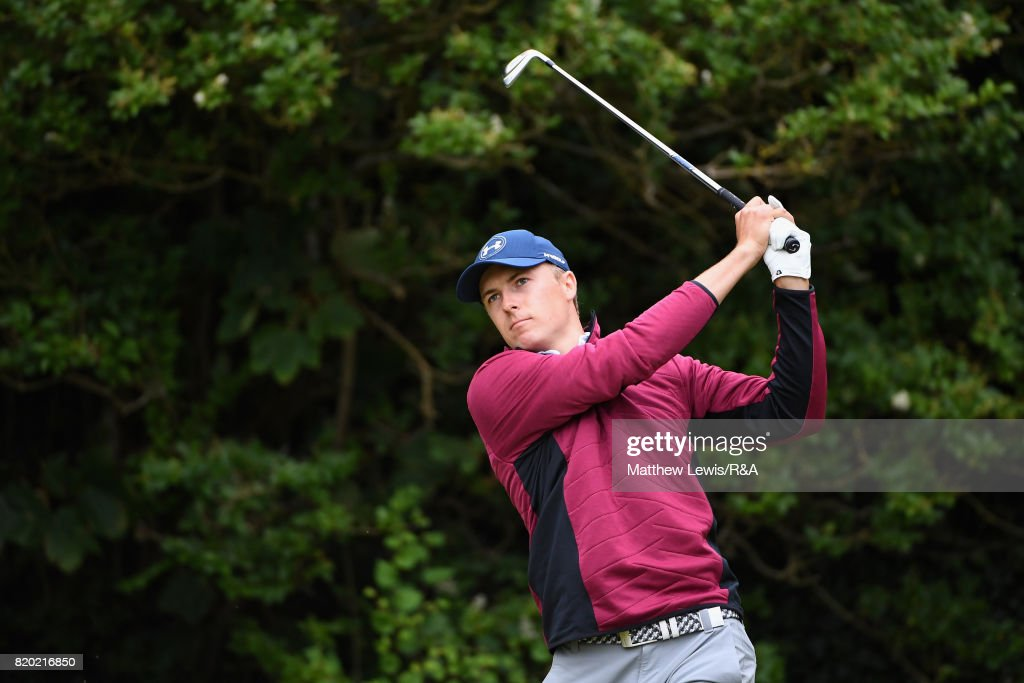 Jordan Spieth of the United States tees off on the 5th hole during the second round of the 146th Open Championship at Royal Birkdale on July 21, 2017 in Southport, England.