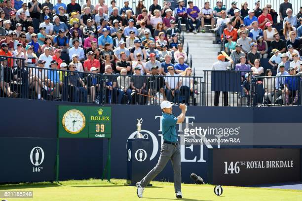 Jordan Spieth of the United States tees off on the first hole during the final round of the 146th Open Championship at Royal Birkdale on July 23 2017...