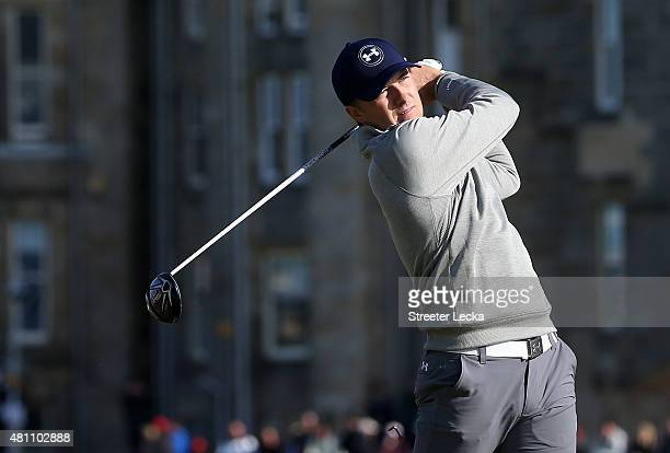 Jordan Spieth of the United States tees off on the second hole during the second round of the 144th Open Championship at The Old Course on July 17,...