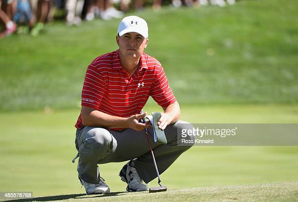 Jordan Spieth of the United States waits on the fifth green during the second round of The Barclays at Plainfield Country Club on August 28, 2015 in...