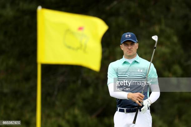 Jordan Spieth of the United States waits to hit on the seventh hole during the first round of the 2017 Masters Tournament at Augusta National Golf...