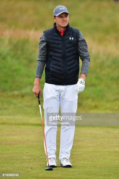Jordan Spieth of the United States waits to tee off during the first round of the 146th Open Championship at Royal Birkdale on July 20 2017 in...