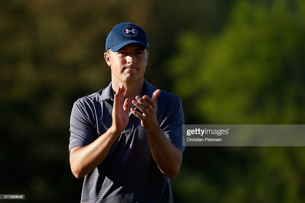 Jordan Spieth of the United States walks across the 16th green during the third round of the World Golf Championships-Dell Match Play at the Austin Country Club on March 25, 2016 in Austin, Texas.
