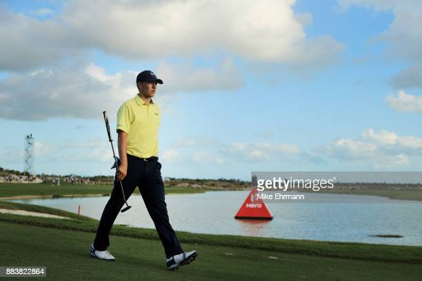Jordan Spieth of the United States walks during the second round of the Hero World Challenge at Albany Bahamas on December 1 2017 in Nassau Bahamas