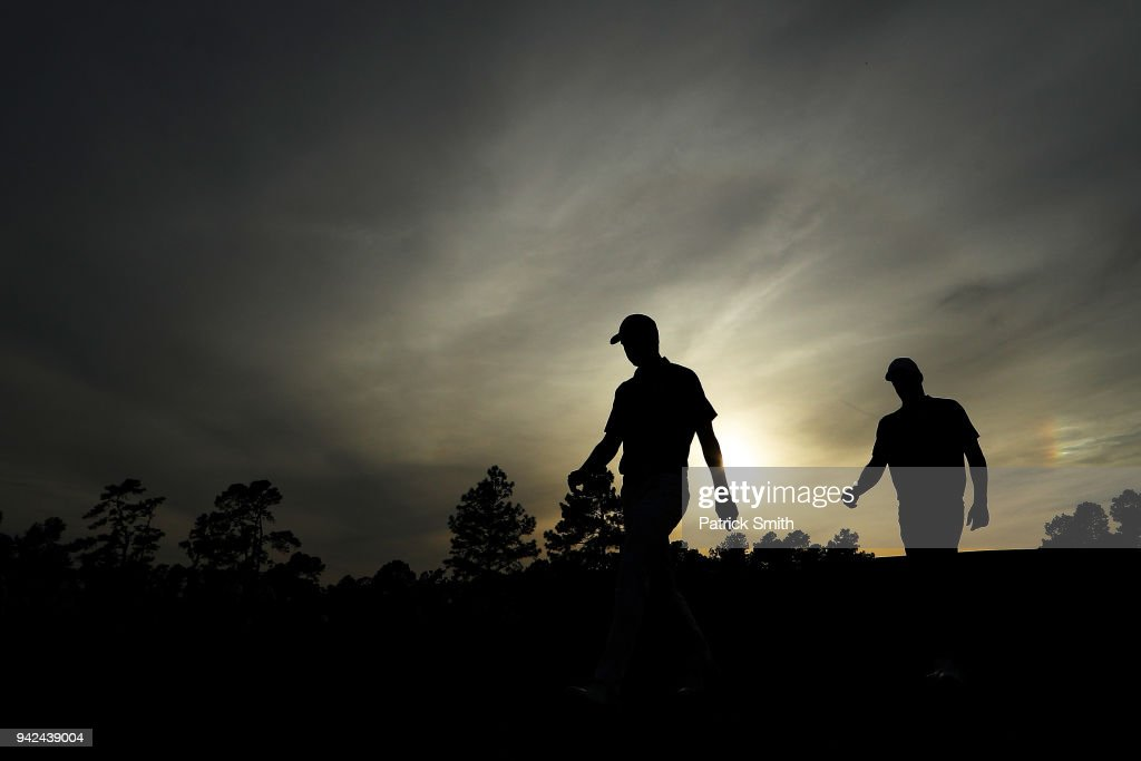 Jordan Spieth of the United States walks off the 17th green during the first round of the 2018 Masters Tournament at Augusta National Golf Club on April 5, 2018 in Augusta, Georgia.