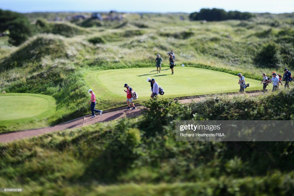 Jordan Spieth of the United States walks off the 8th tee during the third round of the 146th Open Championship at Royal Birkdale on July 22, 2017 in Southport, England.