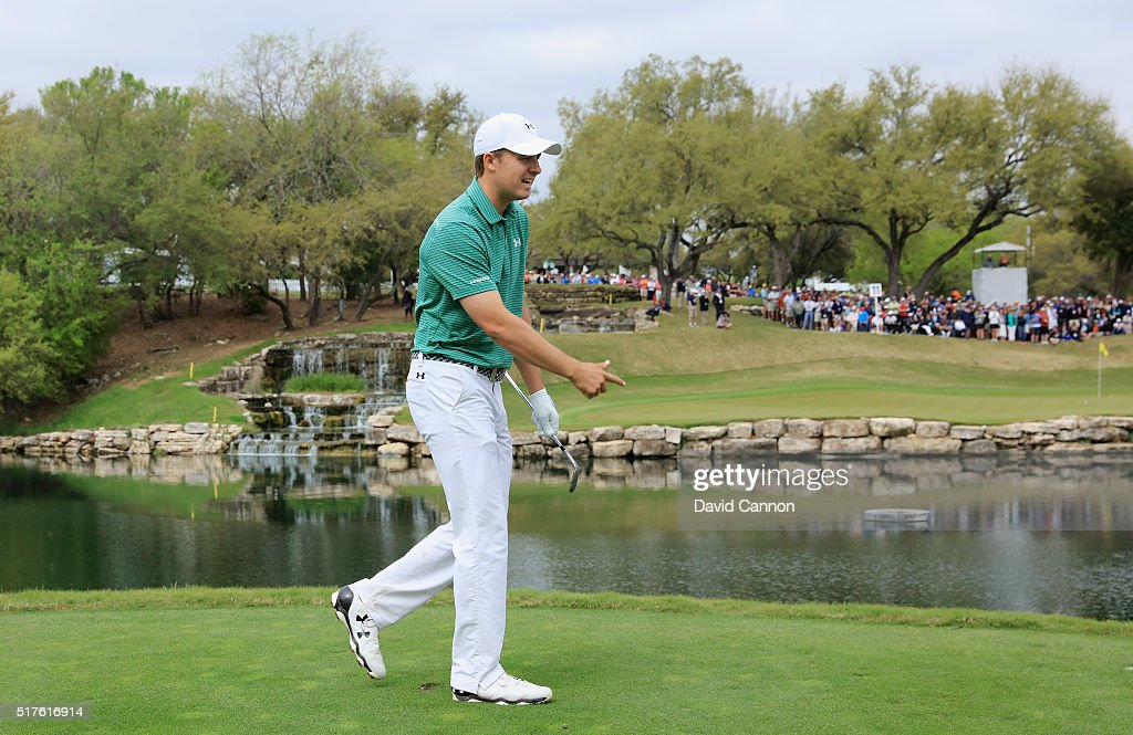 Jordan Spieth of the United States walks on the 11th hole during the round of 16 in the World Golf Championships-Dell Match Play at the Austin Country Club on March 26, 2016 in Austin, Texas.