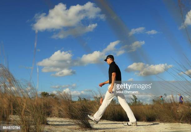 Jordan Spieth of the United States walks on the 15th hole during the third round of the Hero World Challenge at Albany Bahamas on December 2 2017 in...
