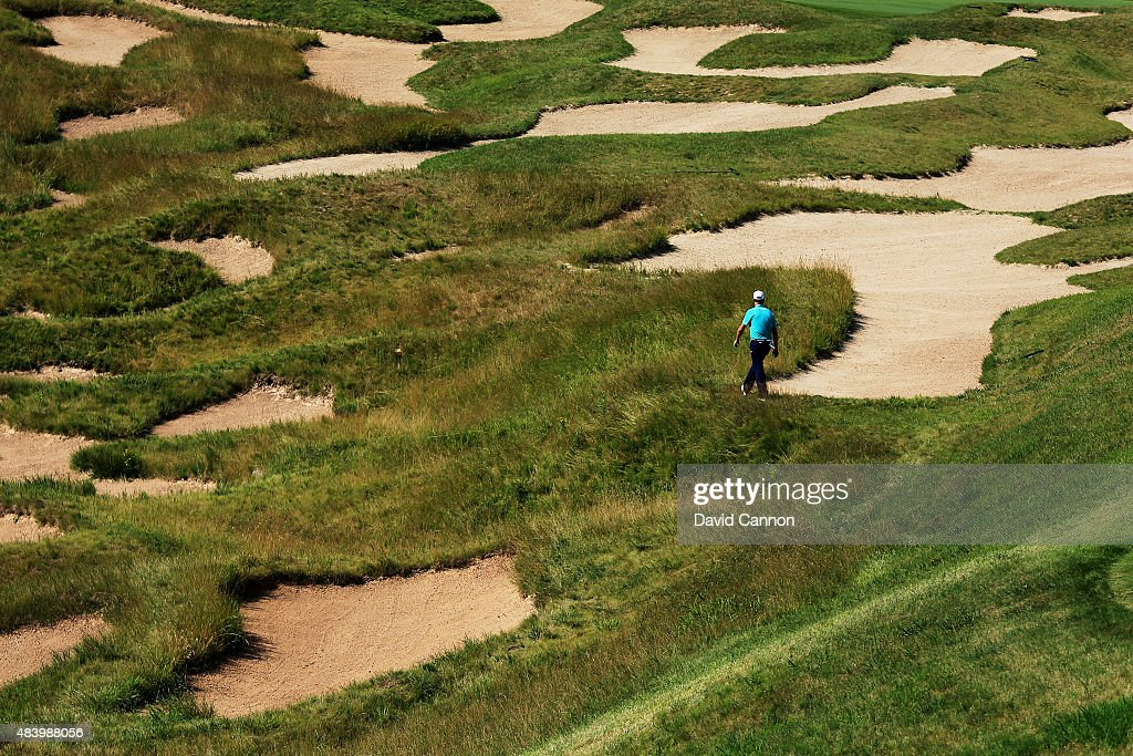 Jordan Spieth of the United States walks on the 18th hole during the second round of the 2015 PGA Championship at Whistling Straits on August 14, 2015 in Sheboygan, Wisconsin.