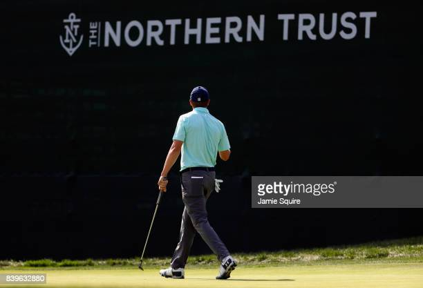 Jordan Spieth of the United States walks on the eighth green during round three of The Northern Trust at Glen Oaks Club on August 26 2017 in Westbury...