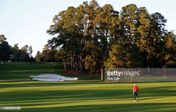 Jordan Spieth of the United States walks on the eighth hole during the second round of the Masters at Augusta National Golf Club on November 13, 2020...