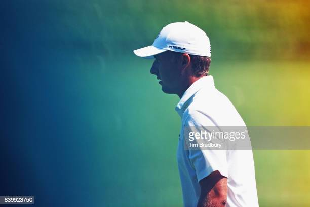 Jordan Spieth of the United States walks on the first hole during the final round of The Northern Trust at Glen Oaks Club on August 27 2017 in...