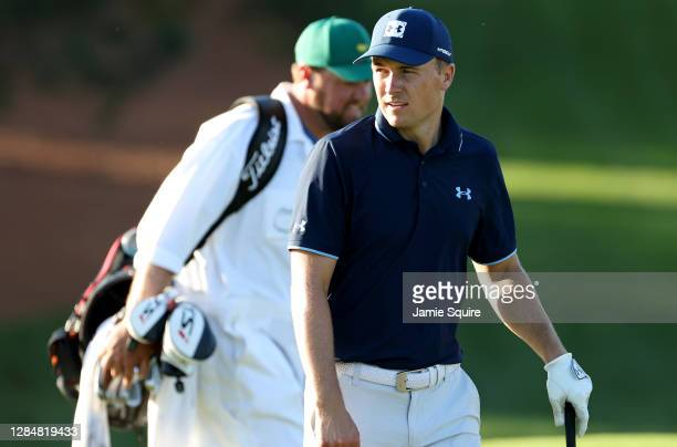 Jordan Spieth of the United States walks on the ninth hole during a practice round prior to the Masters at Augusta National Golf Club on November 09,...