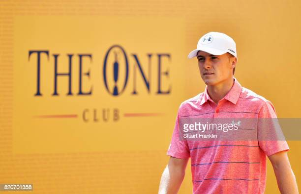 Jordan Spieth of the United States walks onto the 1st tee during the third round of the 146th Open Championship at Royal Birkdale on July 22 2017 in...