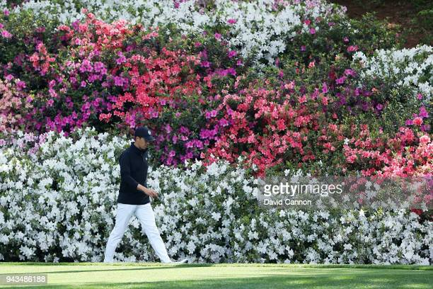 Jordan Spieth of the United States walks to the 13th green during the final round of the 2018 Masters Tournament at Augusta National Golf Club on...