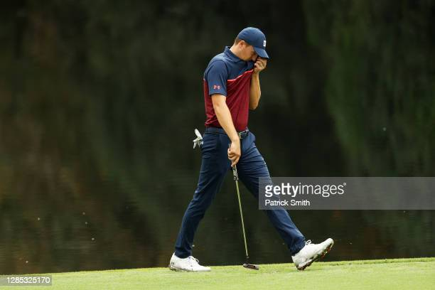 Jordan Spieth of the United States walks to the 16th green during the first round of the Masters at Augusta National Golf Club on November 12, 2020...