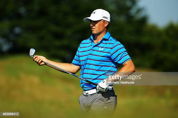 Jordan Spieth of the United States watches a shot during the second round of the 2015 PGA Championship at Whistling Straits on August 14 2015 in...