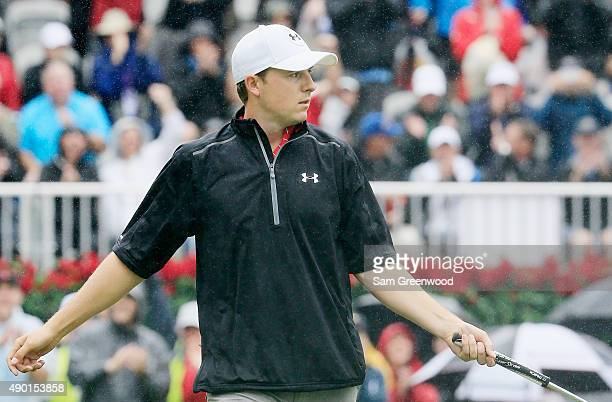 Jordan Spieth of the United States watches his birdie putt drop on the 18th green during the third round of the TOUR Championship By CocaCola at East...