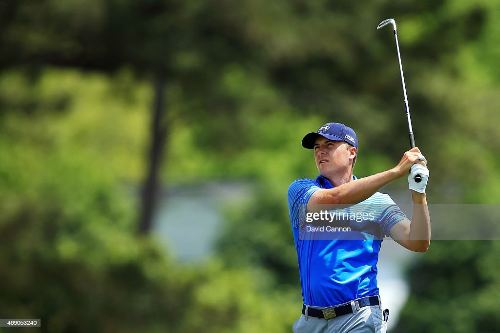 Jordan Spieth of the United States watches his second shot on the first hole during the first round of the 2015 Masters Tournament at Augusta National Golf Club on April 9, 2015 in Augusta, Georgia.