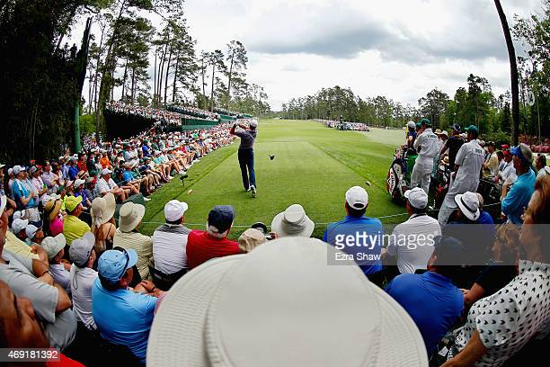 Jordan Spieth of the United States watches his tee shot on the 14th hole during the second round of the 2015 Masters Tournament at Augusta National...