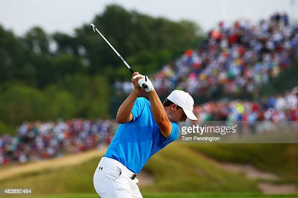 Jordan Spieth of the United States watches his tee shot on the 17th hole during the first round of the 2015 PGA Championship at Whistling Straits on...