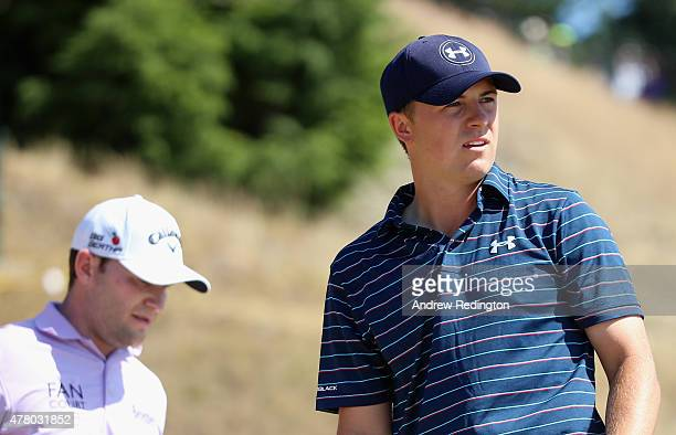 Jordan Spieth of the United States watches his tee shot on the fifth hole during the final round of the 115th US Open Championship at Chambers Bay on...