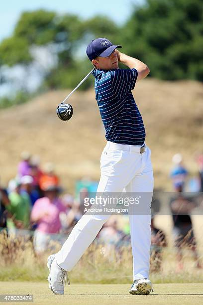 Jordan Spieth of the United States watches his tee shot on the fourth hole during the final round of the 115th US Open Championship at Chambers Bay...